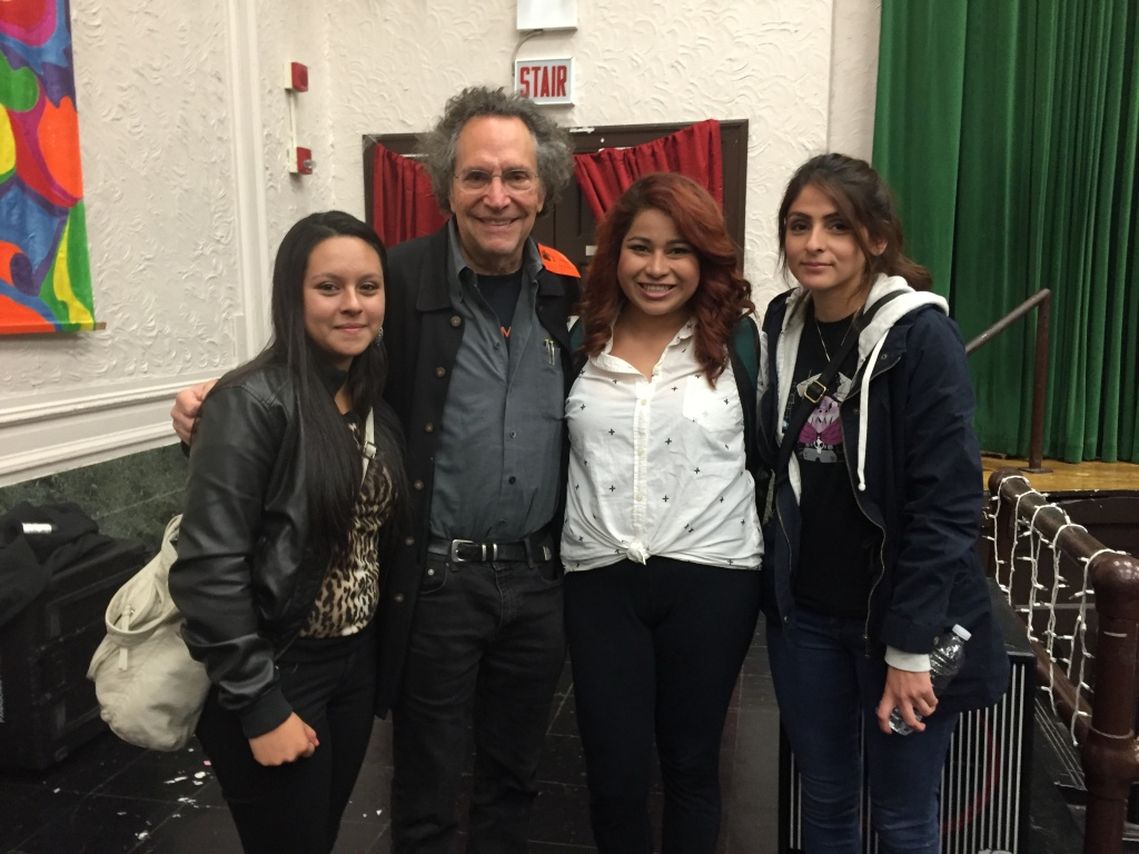 Maria, Elizabeth and Alicia with Gordon Quinn (Kartemquin Films) at Kelly High School screening